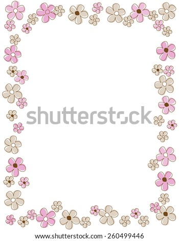 Colorful spring flowers border with pink and brown flowers - stock vector