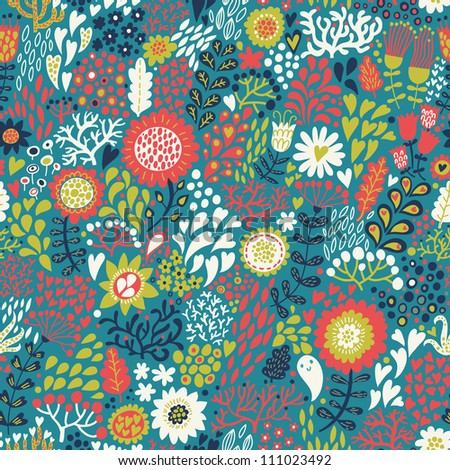 Colorful spring seamless pattern. Floral background in retro style - stock vector