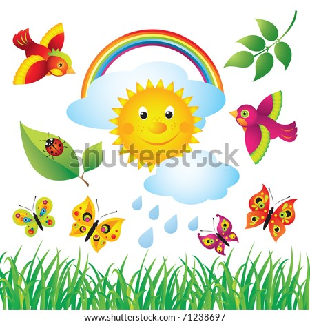 Colorful Spring Set - stock vector