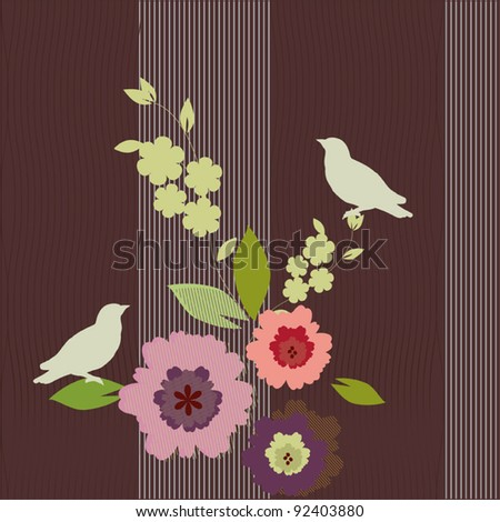 Colorful spring vector background - birds and flowers - stock vector