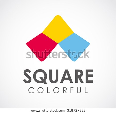 Colorful square abstract vector and logo design or template creative business icon of company identity symbol concept - stock vector