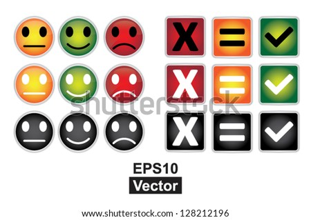 Colorful Square and Circle Icon For Customer Satisfaction Survey Concept Isolated on White Background - stock vector