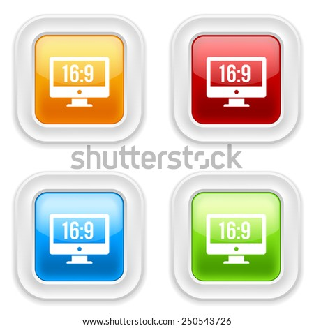 Colorful square buttons with wide-screen icon on white background - stock vector
