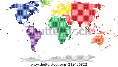 Colorful square world map on white background, vector illustration. - stock vector