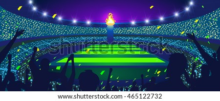 Colorful stadium and flame at night, Vector illustration.