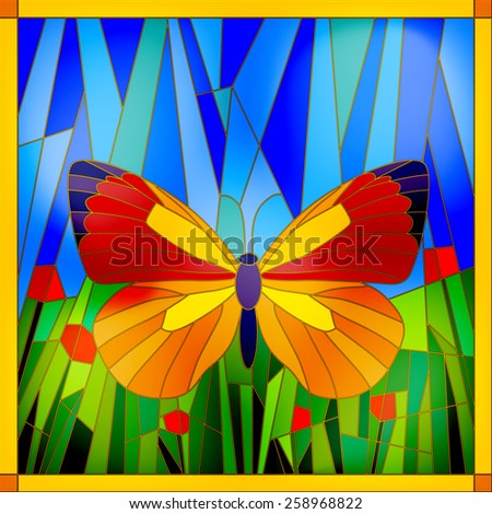 Colorful stained glass butterfly on sky and grass background