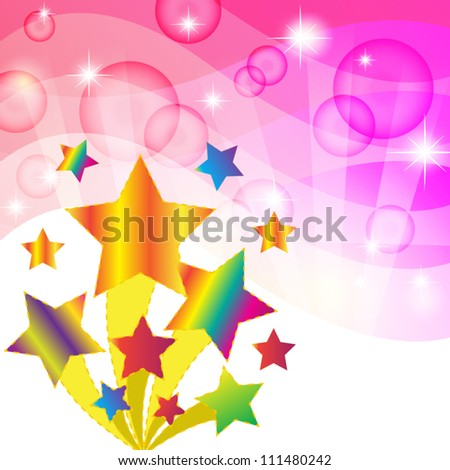 Colorful star and Pink abstract background. Vector illustration - stock vector