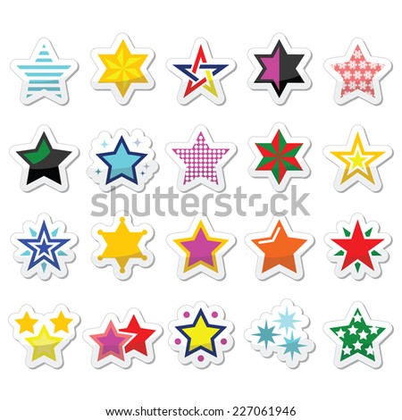 Colorful star icons isolated on white - stock vector