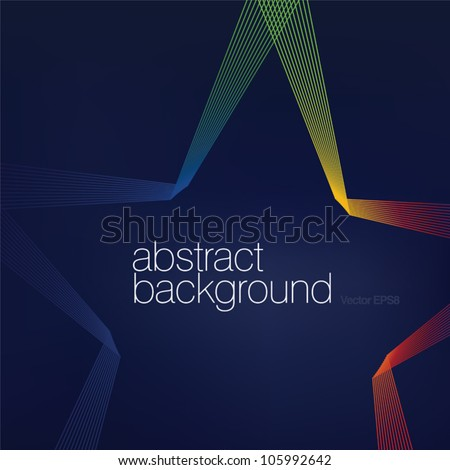 Colorful star shaped lines abstract background.Vector, EPS8 - stock vector
