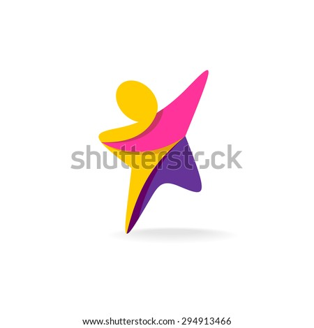 Colorful star shaped man silhouette reaching up logo - stock vector