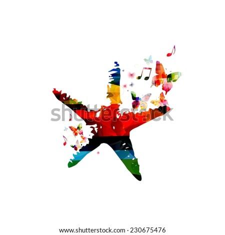 Colorful starfish design - stock vector