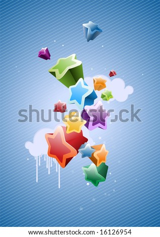 Colorful Stars Background - great for greeting and birthday postcards, flyers and many more celebration items - stock vector
