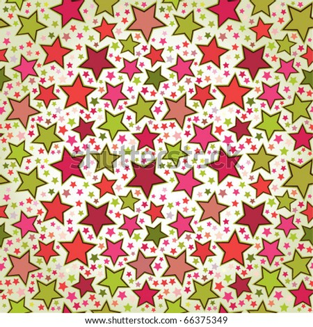 Colorful stars seamless pattern - stock vector