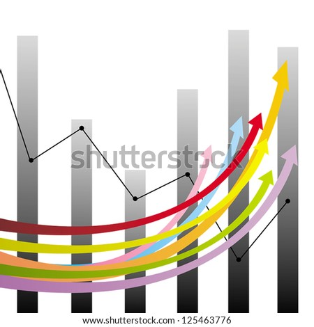 Colorful statistic growth and decline in arrows, graphs and chart in business income and financial analysis, create by vector - stock vector