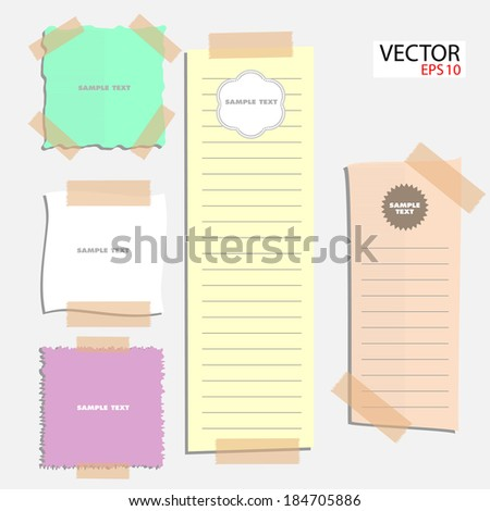 Colorful stick note papers - stock vector