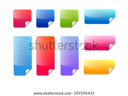 Colorful sticker label icon set vector - stock vector