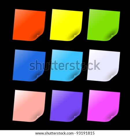 colorful sticker on black background - stock vector