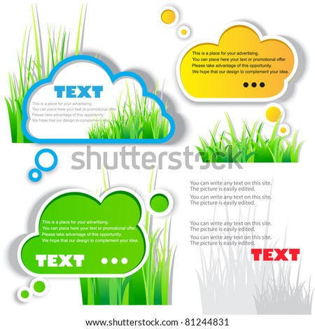 Colorful stickers for speech. Green grass. Natural background