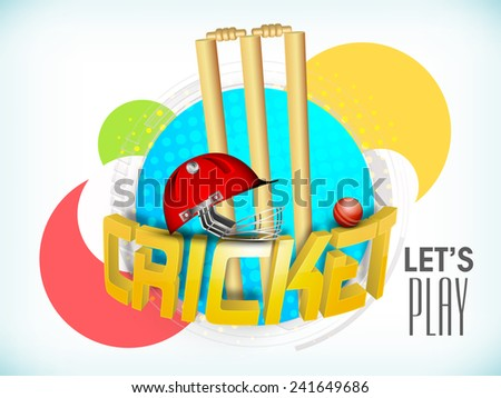 Colorful stickers with 3D golden text Cricket, wicket stumps, ball and helmet on sky blue background. - stock vector