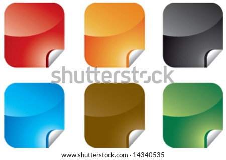 Colorful sticky-notes illustrations - stock vector
