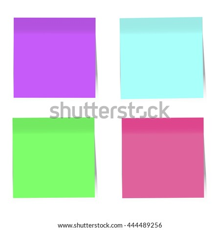 Colorful Sticky Notes On White Background. Vector Illustration, EPS10
