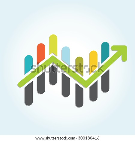 Colorful stock market graph - stock vector