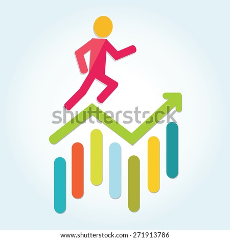 Colorful stock market graph with human - stock vector