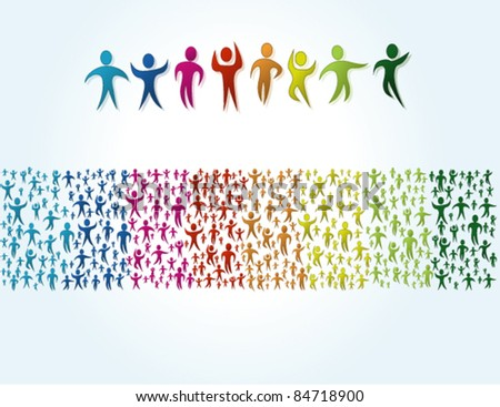 Colorful stripe made of people icons - stock vector