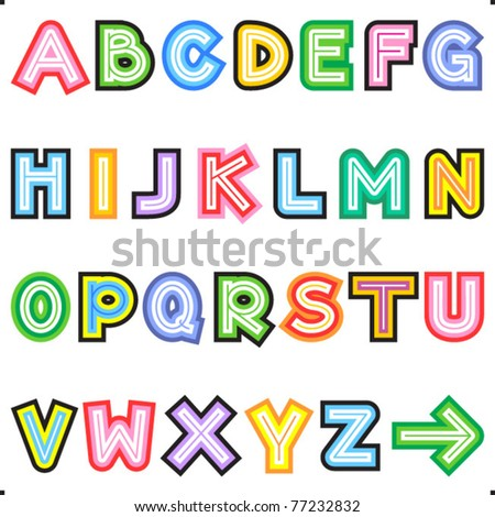 Colorful striped letters alphabet set ( for high res JPEG or TIFF see image 77232829 )
