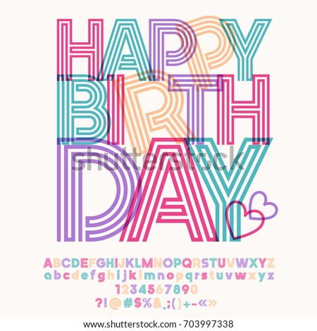 Colorful striped vector alphabet graphic font stock vector hd graphic font with text for greeting card happy birthday m4hsunfo