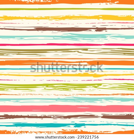 Colorful stripes seamless pattern. Abstract background with hand drawn stripes. Vector watercolor lines background. - stock vector