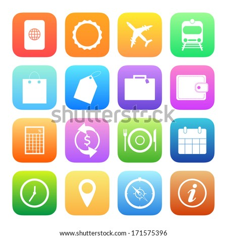 Colorful style Travel Icons vector set. - stock vector