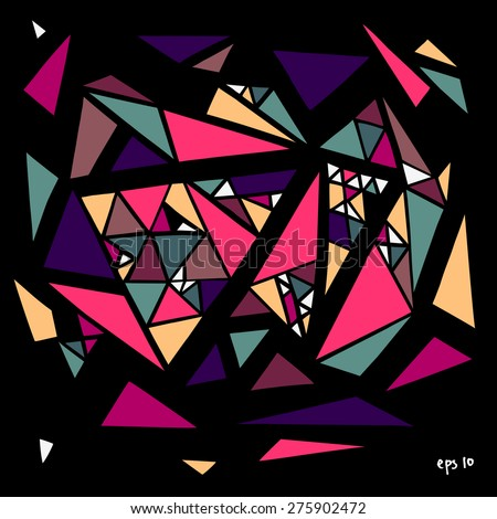 Colorful stylish grungy vector collection of geometric hand-drawn triangles on black background in graffiti street art style.  - stock vector
