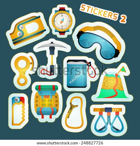 Colorful stylish stickers vector collection for alpinism or rock climbing or mountaineering on blue background. - stock vector