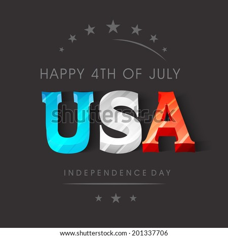 Colorful stylish text USA on grey background  for 4th of July, American Independence Day celebrations.  - stock vector