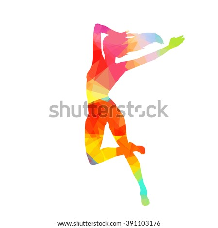 Colorful stylized dancer's pose. Drawing is made by polygons. Vector design elements for your creativity. - stock vector
