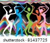 Colorful stylized silhouettes of dancing girls at the carnival - stock vector