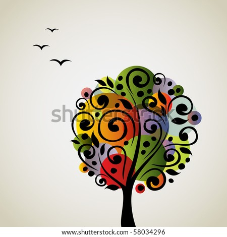 Colorful stylized vector tree - stock vector