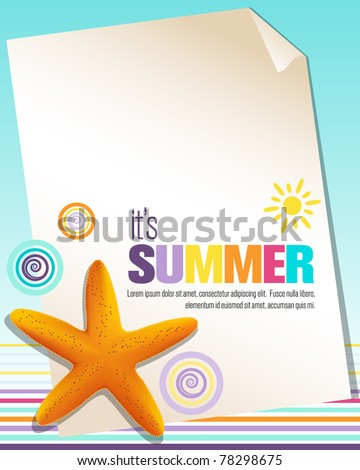 Colorful summer background with starfish - stock vector