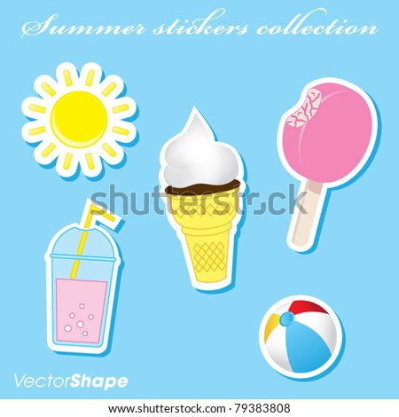 Colorful summer beach stickers collection vector illustration - stock vector