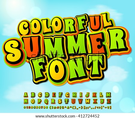 Colorful summer high detail comic font on the summer background. Alphabet in style of comics, pop art. Multilayer letters and figures for illustrations, websites, posters, comics, banners - stock vector