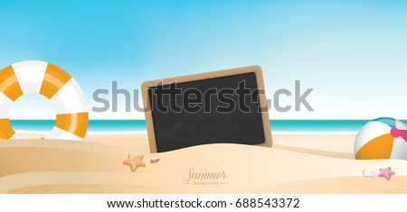 Colorful summer holiday beach panoramic banner vector background with space for texts