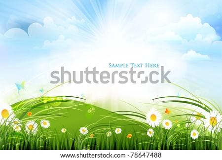 colorful summer scene design - stock vector