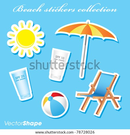Colorful sunny beach stickers collection vector illustration - stock vector