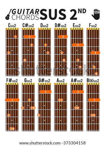 Colorful Suspended Second Chords Chart Guitar Stock Vector (Royalty ...