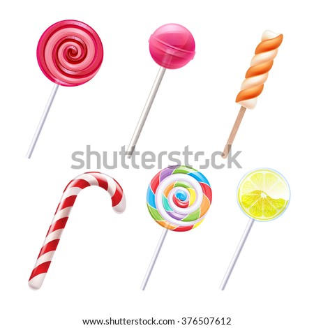 Colorful sweets icons set - candy cane marshmallow spiral lollipop lemon vector illustration. - stock vector