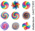 colorful swirl icons set, abstract vector shapes, design elements - stock