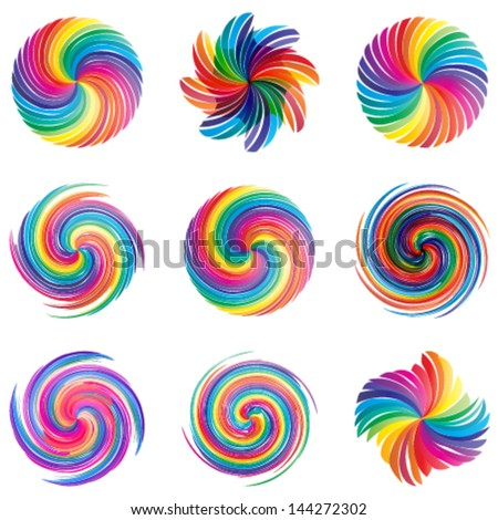 colorful swirl icons set, abstract vector shapes, design elements - stock vector