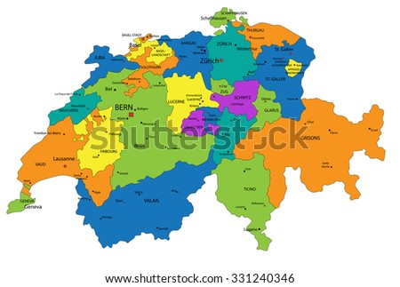 Colorful Switzerland political map with clearly labeled, separated layers. Vector illustration. - stock vector