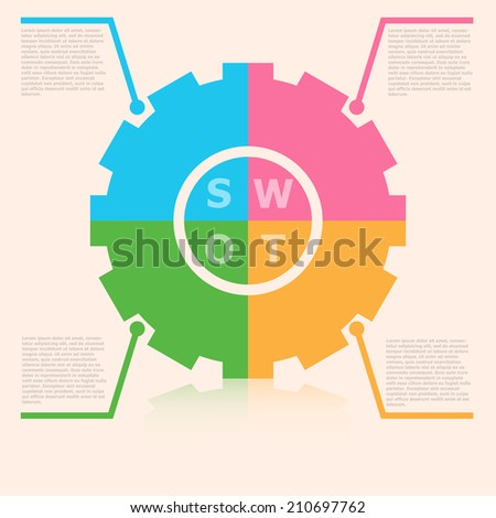 Colorful SWOT illustration  Background For Business Concept - stock vector